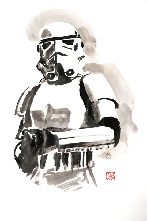 stormtrooper pechane sumi e paintings prints entertainment