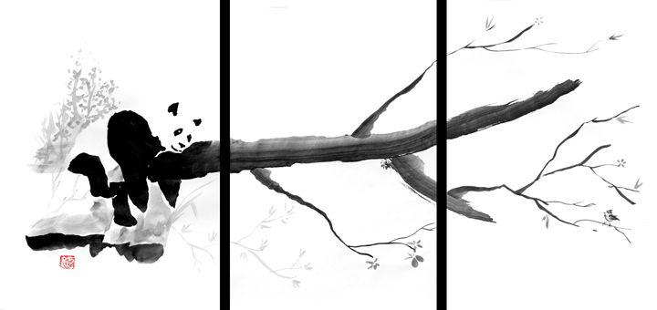 Panda triptych - Pechane Sumi-e