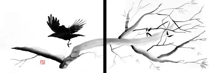 Crow diptych - Pechane Sumi-e