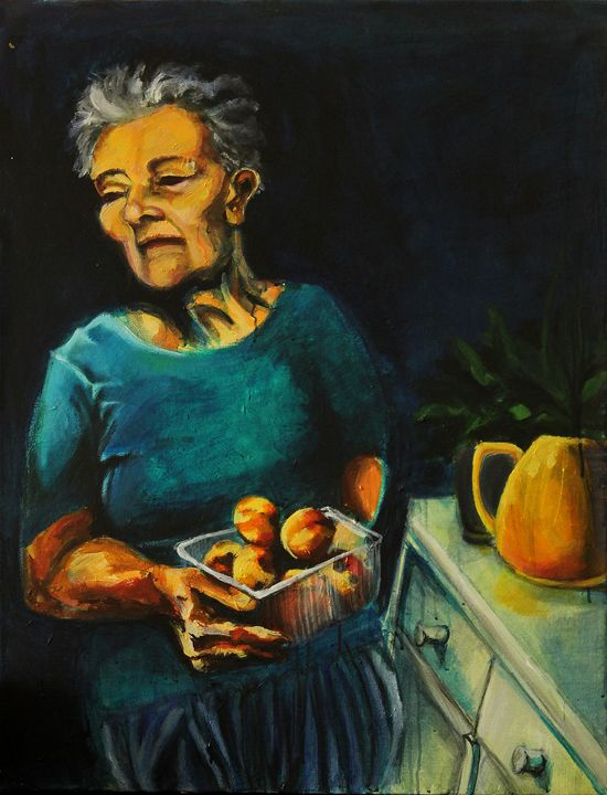 Lady holding a bowl of peaches - Danielle Ventura