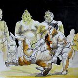Sumo wrestlers ink painting