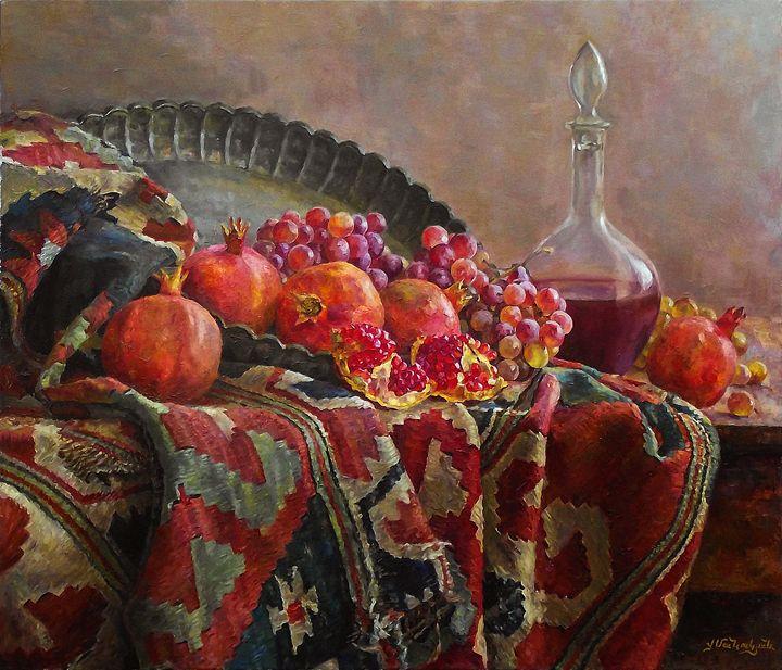 Still life with a tray - Folk Art