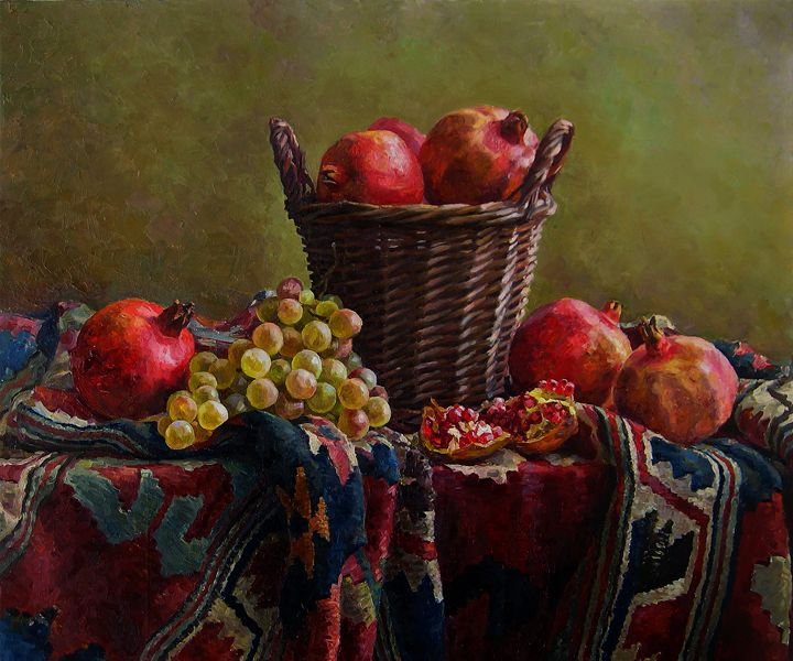Still life with basket - Folk Art