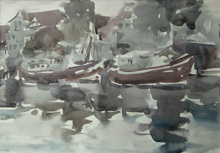 Etude with fishing ships - BluvshteynArt