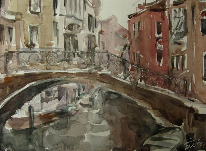 On the bridge - Venetian landscape - BluvshteynArt