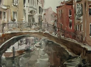 On the bridge - Venetian landscape