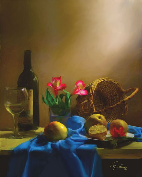 Voće na stolu - Jovica Petrovic Art