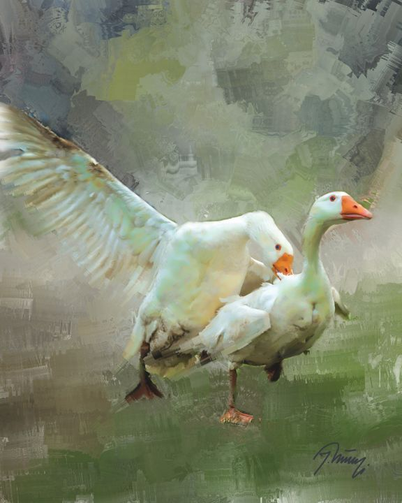 Fighting The Geese - Jovica Petrovic Art