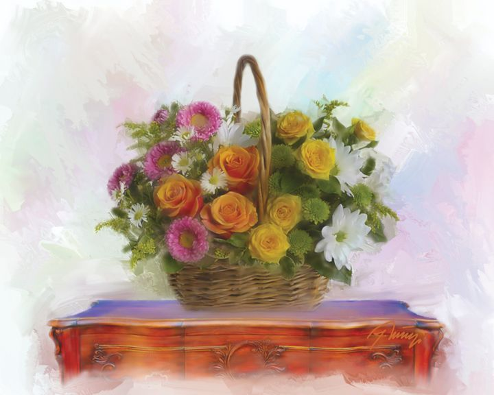 Basket with flowers - Jovica Petrovic Art