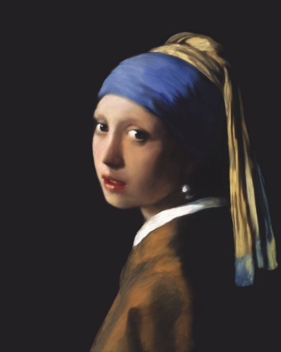 A girl with a pearl earring - Jovica Petrovic Art