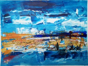 Abstract landscape in blue 1.