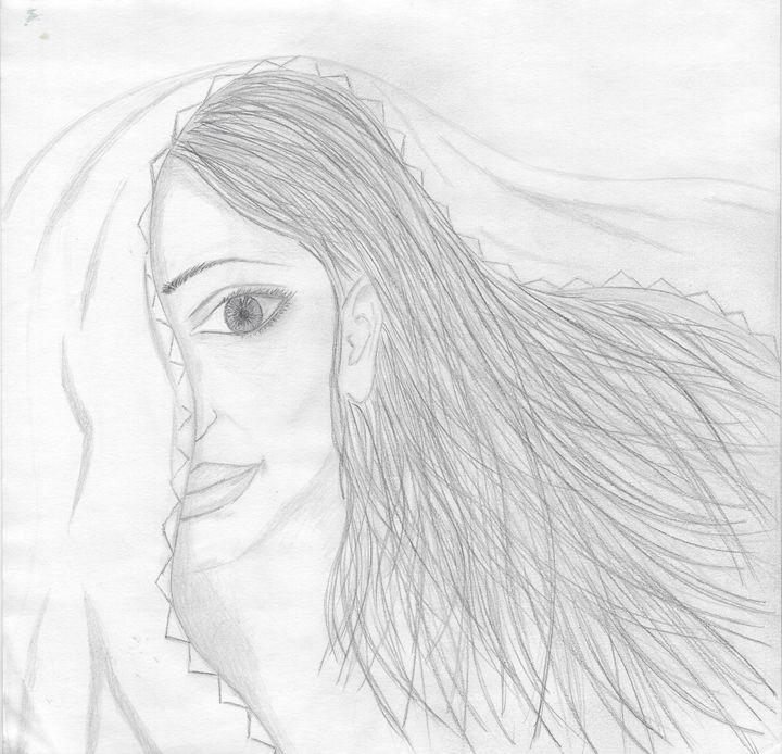 Veiled lady sketch - Vatsala Sinha