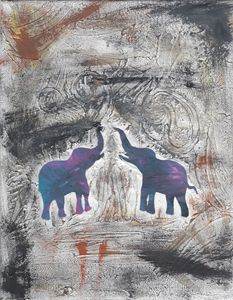 Elephant saluting