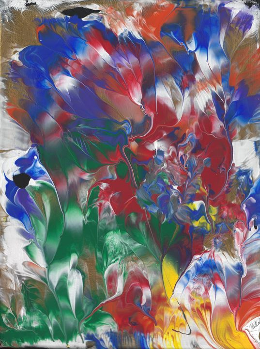 Colorful garden abstract with gold - Vatsala Sinha