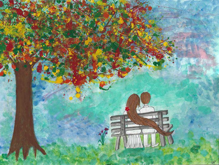 Couple under the fall tree - Vatsala Sinha
