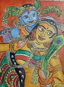 Mural art of lord Krishna and radha