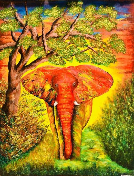 Elephant on the field - Nyunga art