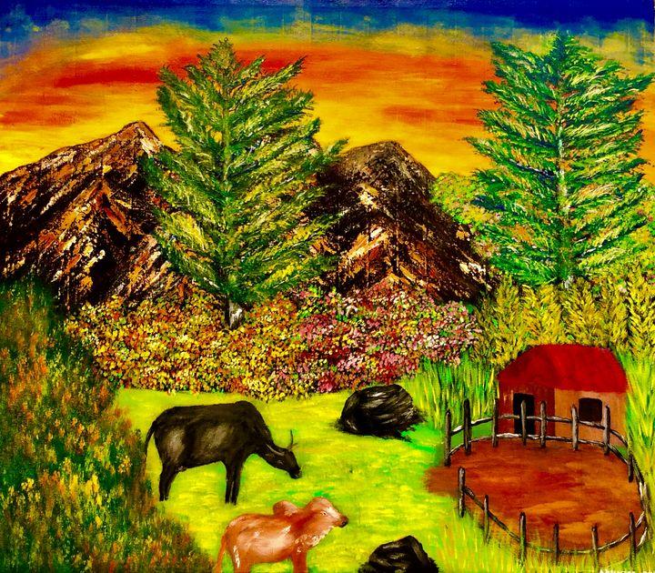 Cattle on the field - Nyunga art