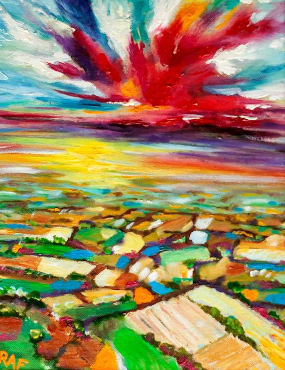 Countryside Sunset - RAF Creative Art - Oil and Acrylic Paintings