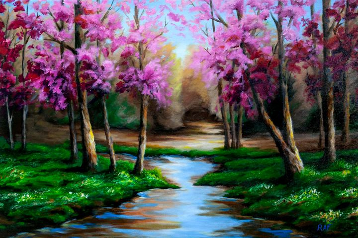 Pink Serenity - RAF Creative Art - Oil and Acrylic Paintings