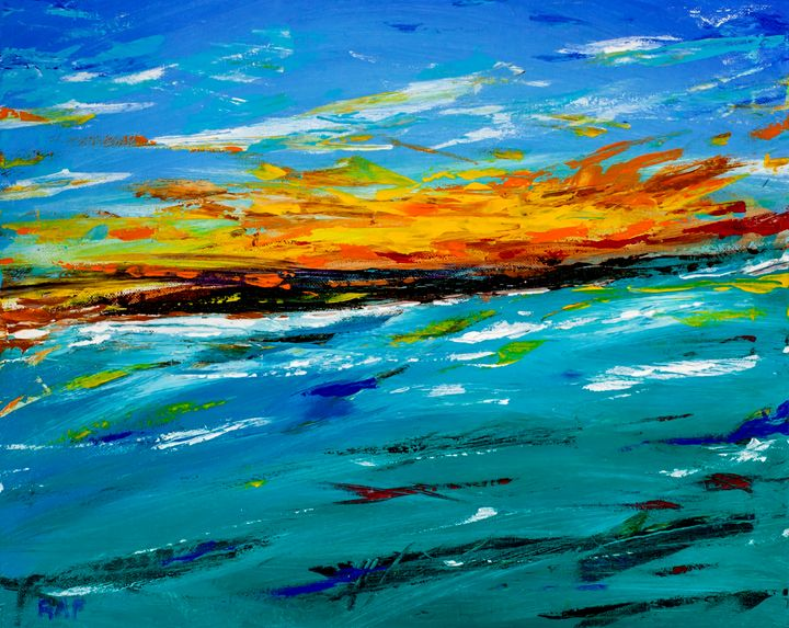 Sea and Island - RAF Creative Art - Oil and Acrylic Paintings