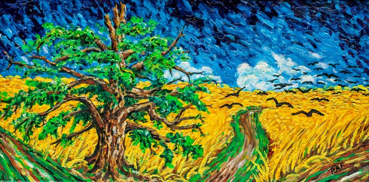 Oak with Crows in a Wheat Field - RAF Creative Art - Oil and Acrylic Paintings
