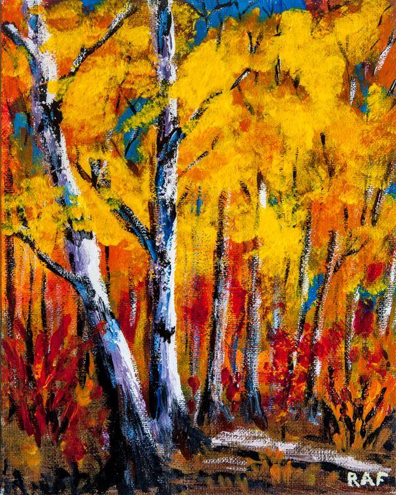 Birch Autumn - RAF Creative Art - Oil and Acrylic Paintings
