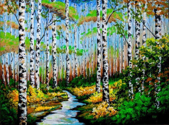 Birch Path - RAF Creative Art - Oil and Acrylic Paintings