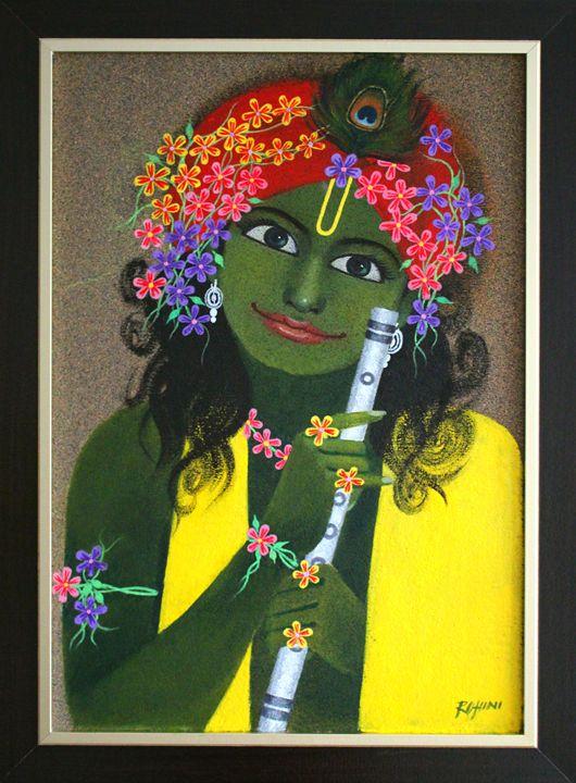 Krishna Painting - Acrylic on Bullet - Canvas Paintings