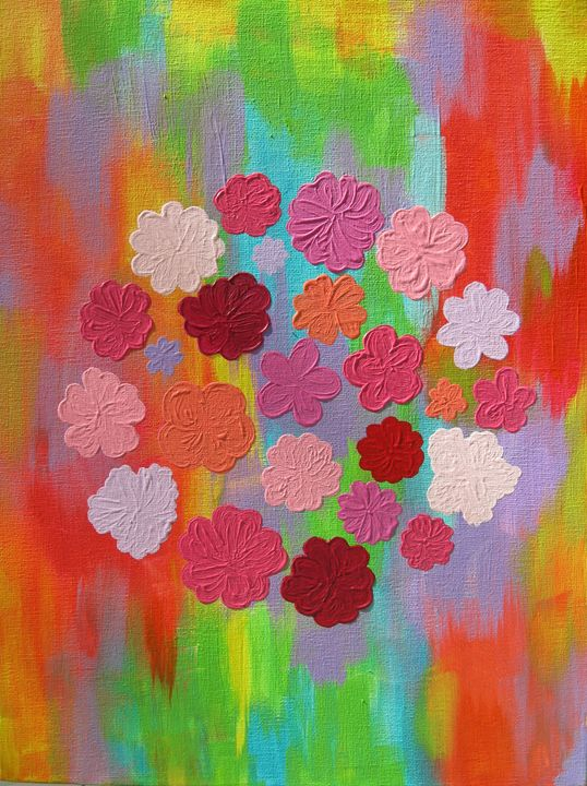 Colorland with pink flowers - Alexandra Luiza Dahl