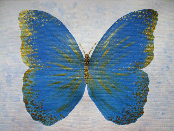 Beautiful Golden Blue Butterfly - Alexandra Luiza Dahl