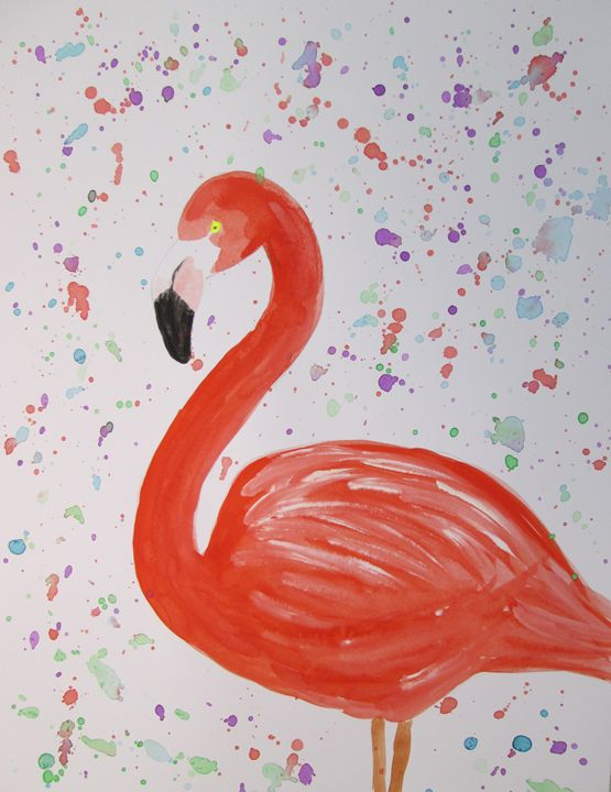 Flamingo and multicolored dots - Alexandra Luiza Dahl