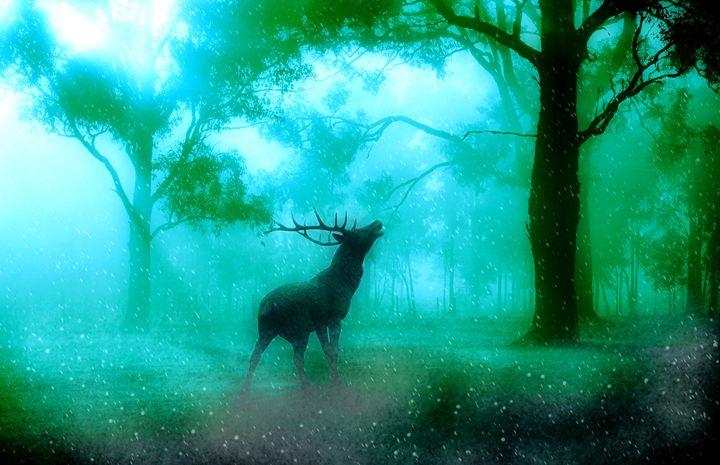 Deer in the blue forest - Alexandra Luiza Dahl