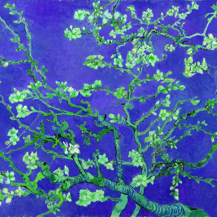 """Almond blossoms"" in deep blue - Alexandra Luiza Dahl"