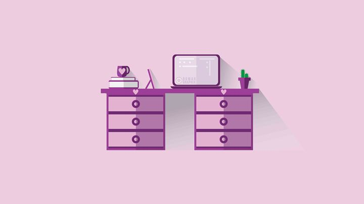 Girls room pink Flat design -  Oomargraphix