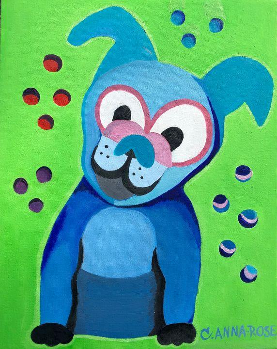 Blue Pup with Orbs - Beah Creative Art
