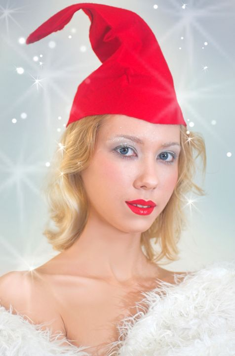 young model in red and white Christm - PhotoStock-Israel