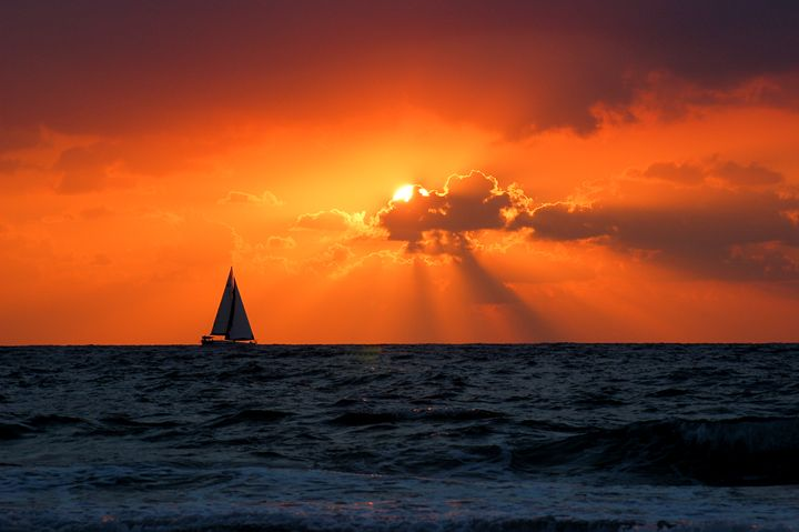 Mediterranean Sun Set and sailboat - PhotoStock-Israel