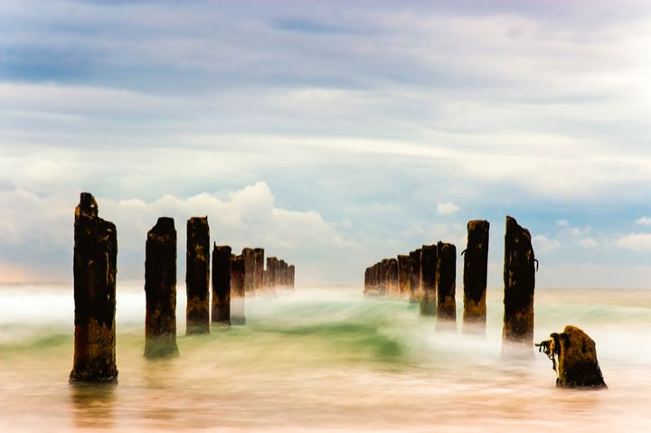 Poles in the sea, long exposure - PhotoStock-Israel