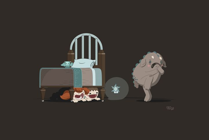 Ahhh! Kids under my bed! - Eric Montag's Illustrations