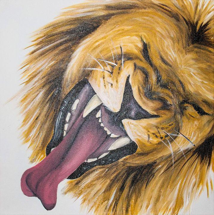 yawning lion - Katie Golabowski