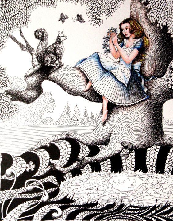 Alice in Wonderland Zentanlge - Lorraina Dreamscapes Gallery