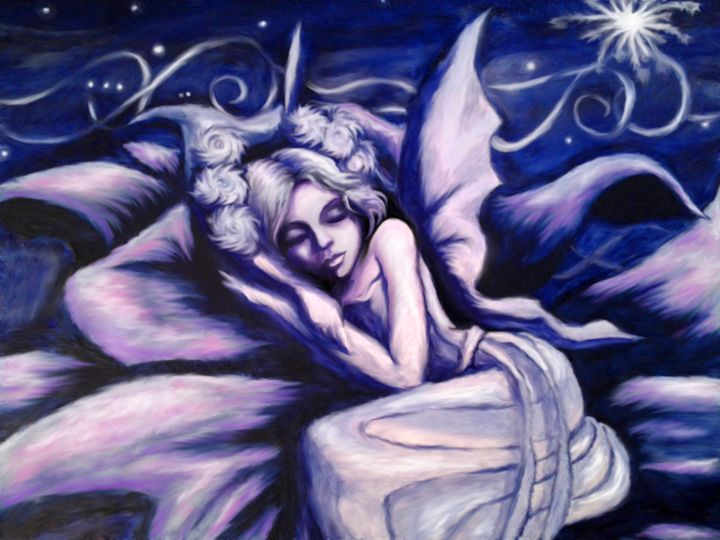 Blue Fairy Sleeping in a Flower - Lorraina Dreamscapes Gallery