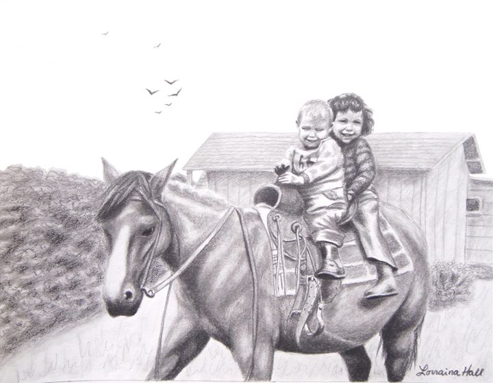 Two Children on Horseback - Lorraina Dreamscapes Gallery