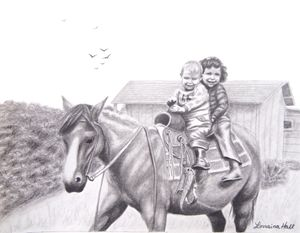 Two Children on Horseback