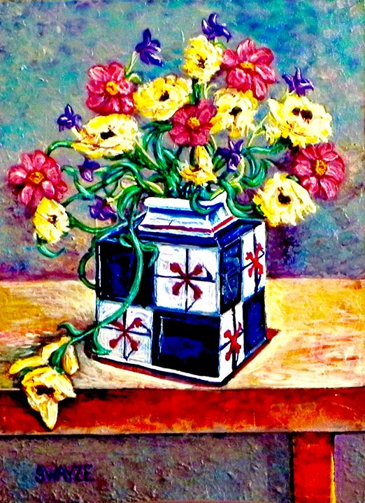 Flowers in a Square Vase - SwayzeArt