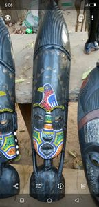 Curved and painted tribal masks