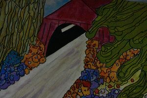 Covered bridge in summer bloom. - Creative Art by Diana