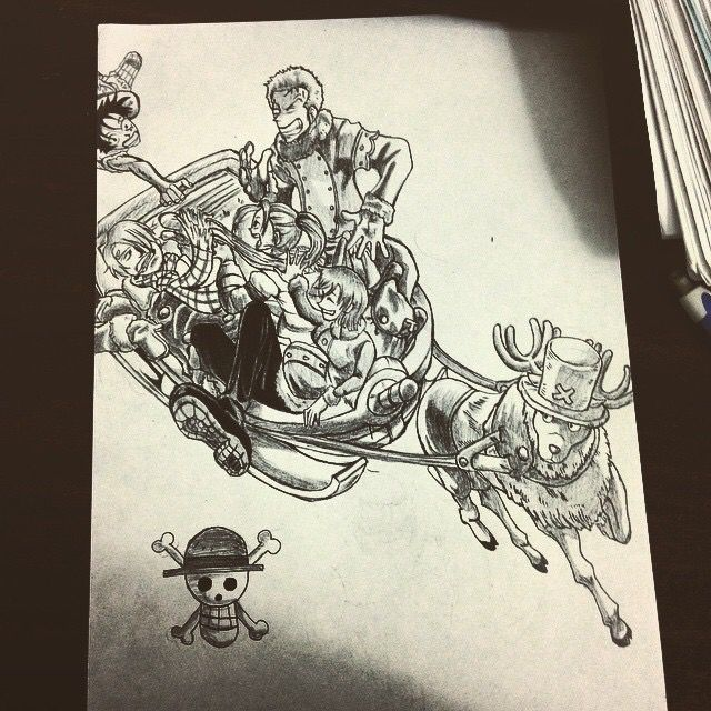 Straw hat crew and Vivi on sledge - Tommy's Sketches