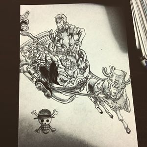 Straw hat crew and Vivi on sledge
